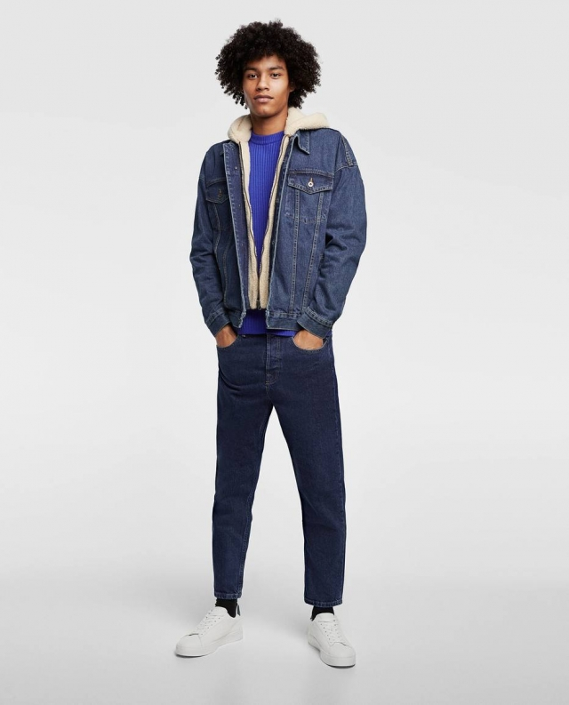 Lã de carneiro utilizada na forração de uma jaqueta jeans da Zara. Foto: Divulgação Zara