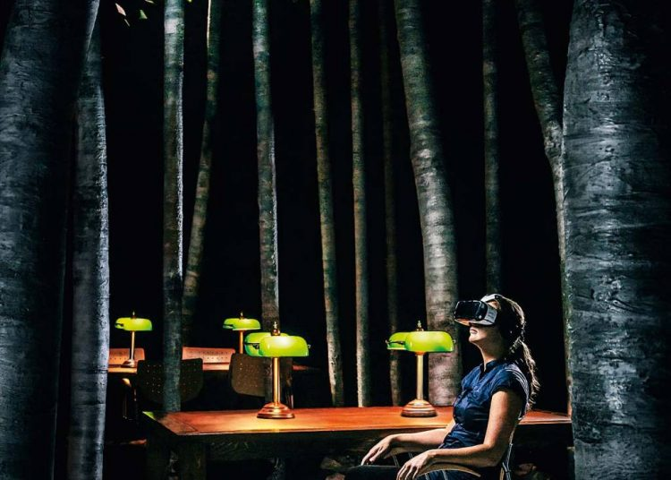 Sala de realidade virtual da mostra Biblioteca à Noite. Foto: Companhia Ex Machina