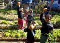 Crianças participam de oficina no jardim Filhos da Terra. De novo, outro registro pré-pandêmico. Foto: divulgação