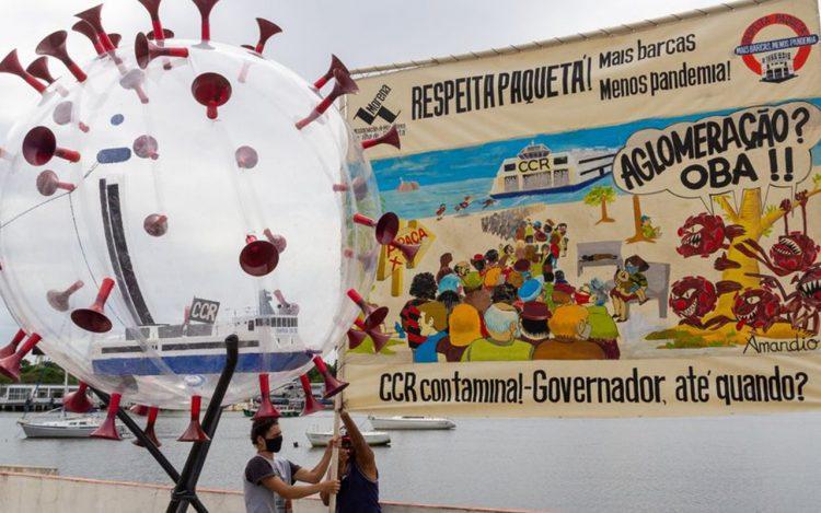 Mobilização do movimento Respeita Paquetá, em defesa de um transporte de qualidade entre o centro do Rio e a Ilha de Paquetá. Foto: divulgação